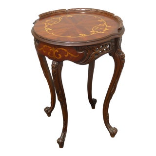 Vintage French Rococo Carved W Inlay Side End Table For Sale