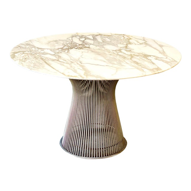 Chrome and Marble Round Table Designed by Warren Platner for Knoll. For Sale