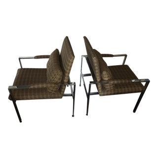 1970s Mid-Century Modern Milo Baughman Chrome Lounge Chairs - a Pair