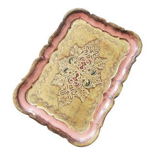 Vintage Petite Italian Florentine Hand Painted Gilt Tray For Sale
