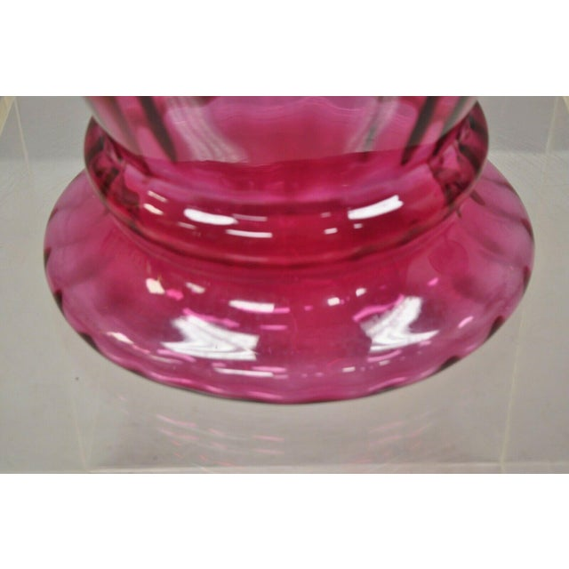 """Glass Contemporary Oversized Large Modern Pink Hand Blown Ribbed Glass 29"""" Vase For Sale - Image 7 of 11"""
