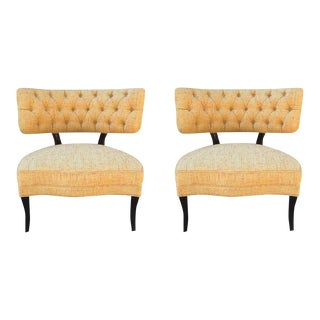Pair of Billy Haines Tufted Slipper Chairs For Sale