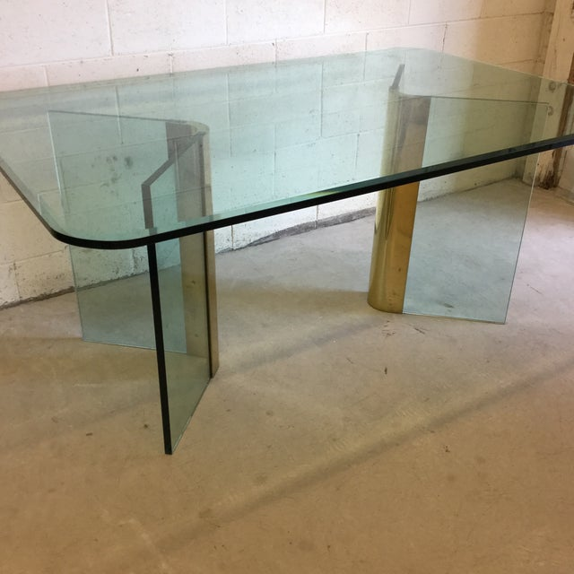 Gold Pace Glass and Brass Dining Table Desk For Sale - Image 8 of 11
