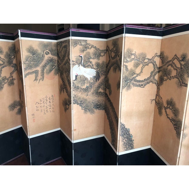 1900s Early 1900's Antique Japanese 10-Panel Painted Screen For Sale - Image 5 of 13