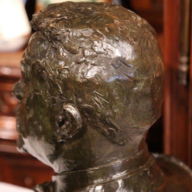 "Large 20th Century French Bronze Bust Signed ""A. Descatoire"", 1913 - Image 8 of 8"