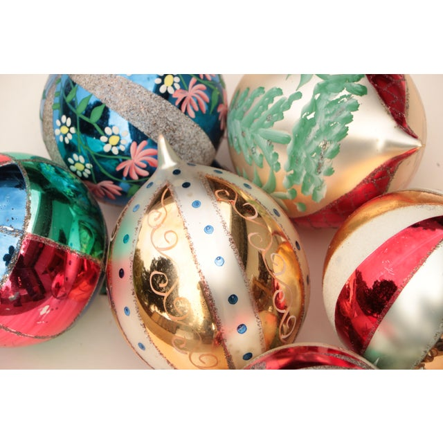Mid 20th Century Giant Vintage Blown Glass Ornaments - Set of 6 For Sale - Image 5 of 7