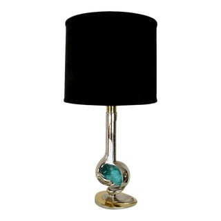 French Brass and Nickel Chrome Table Lamp With Aqua Blue Glass Rock by Willy Daro For Sale