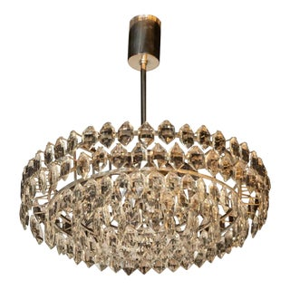 Mid-Century Modern Cut Crystal and Nickel Chandelier by Bakalowits & Sohne For Sale