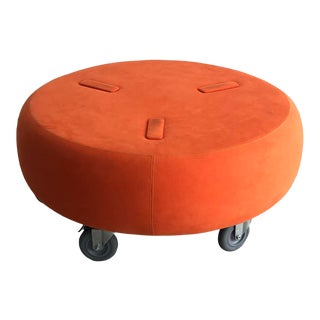 Orange Ultra Suede Dune Ottoman For Sale