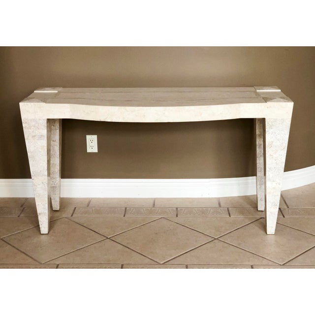 1980s Postmodern White Tessellated Marble Console For Sale In Detroit - Image 6 of 6