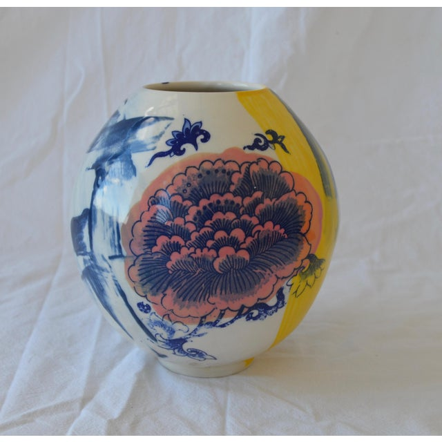 Contemporary Ceramic Chrysanthemum Moon Vessel For Sale In New York - Image 6 of 6