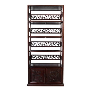 1950s Vintage Chinese Hand Carved Rosewood Book Shelf For Sale