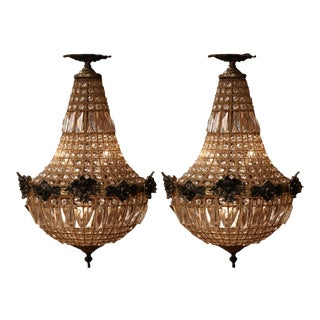 Pair of Mid-20th Century French Crystal and Bronze Four-Light Basket Chandeliers For Sale