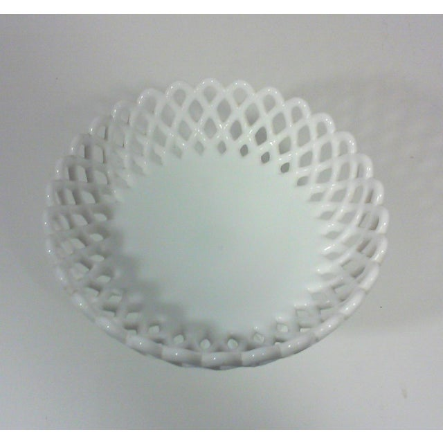 Cottage Milk Glass Basket Weave Compote For Sale - Image 3 of 5