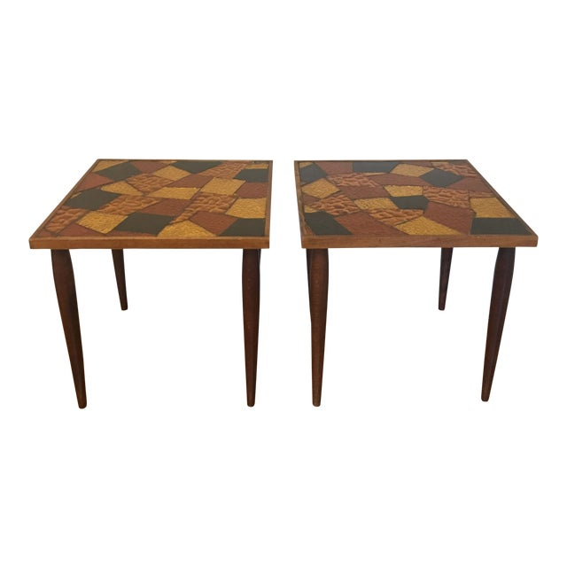 Pair of Mosaic Glass Top Side Tables by Jon Matin For Sale