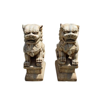 Chinese Pair Distressed Brown White Marble Stone Fengshui Foo Dogs Statues For Sale