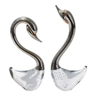 Vintage Murano Glass Swan or Duck Figures Controlled Bubbles, Polished Nickel and Copper Accents - a Set of 2 For Sale