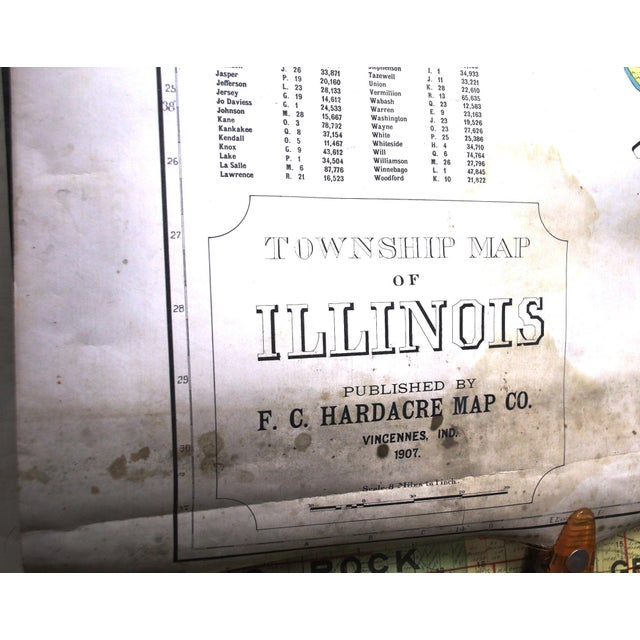 Turn of the Century F. C. Hardacre Map Cabinet With Early 1900s Illinois Maps For Sale - Image 4 of 12