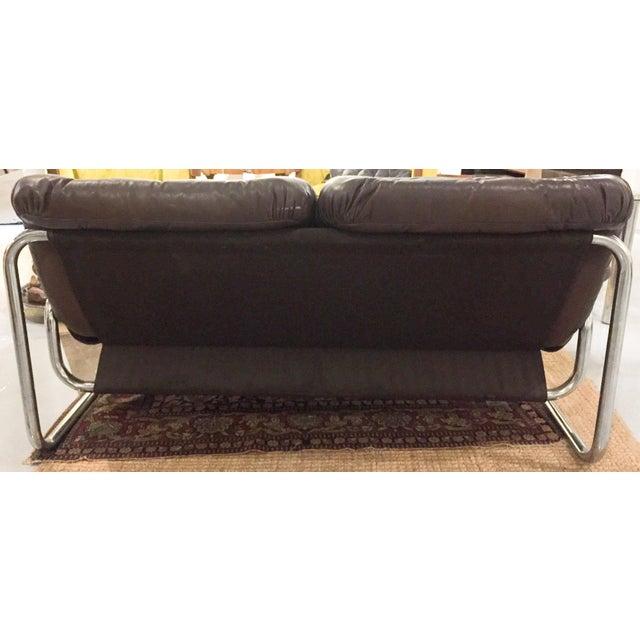 Mid-Century Leather & Tubular Chrome Loveseat - Image 4 of 5