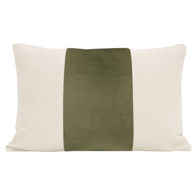 """Pair of beautiful 12"""" X 18"""" natural linen pillows with a Bayleaf velvet center and solid natural linen reverse...."""