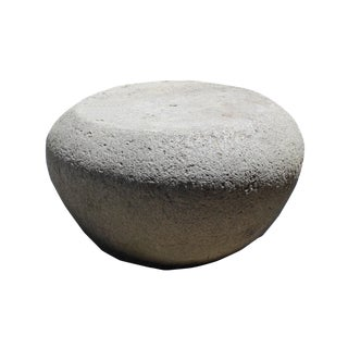 Chinese Gray Stone Carved Round Plain Body Stool Table Stand For Sale