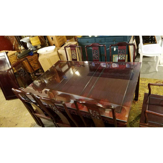Chinese Hand Carved Rosewood Dining Set for Eight - Image 8 of 11