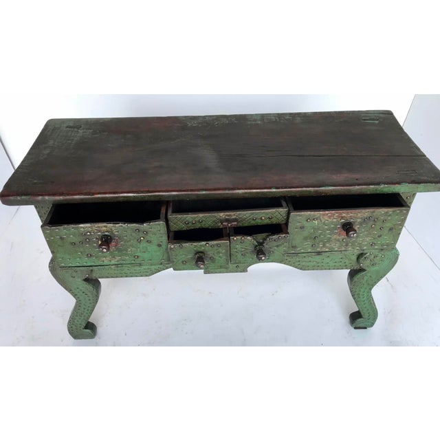 Antique Painted Guatemalan Nahuala Lion's Leg Folk Art Table With Five Drawers For Sale - Image 4 of 11