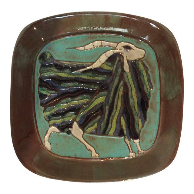 1960s Mid-Century Modern Harris G Strong Ram Ceramic Platter For Sale