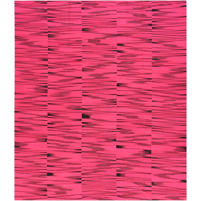21st Century Pink or Black Geometric Turkish Kilim Rug For Sale - Image 9 of 9