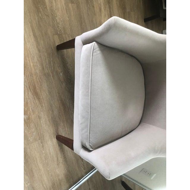 2000 - 2009 Custom Made Gray Velvet Deco Barrel Chair For Sale - Image 5 of 7