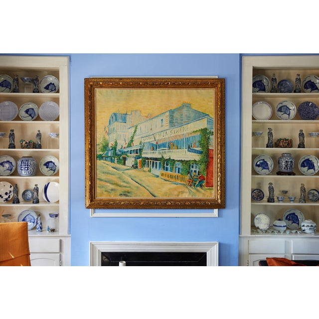 Yellow Large Impressionist Oil Painting of a French Street Scene For Sale - Image 8 of 13