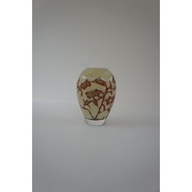 Gorgeous Olle Brozén for Kosta Boda floating flowers design vase. The vase features red flowers on a cream background,...
