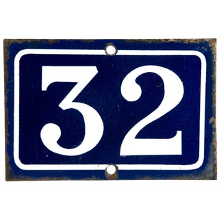 Vintage French Enamel House Number 32 For Sale