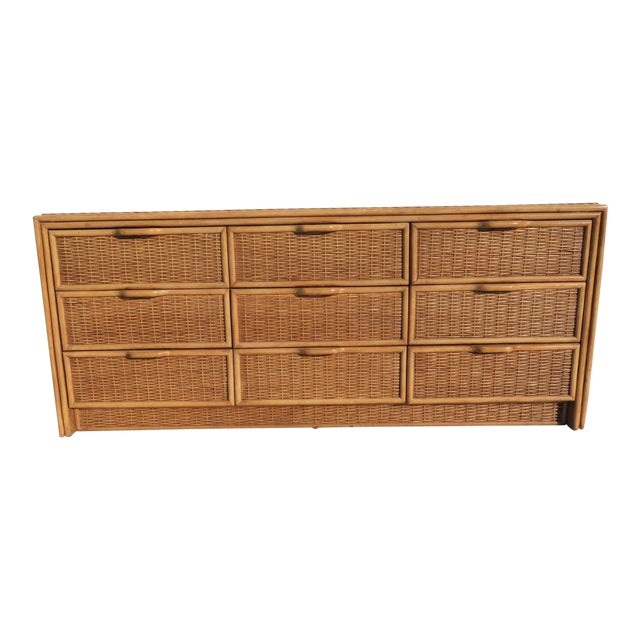 Bamboo & Wicker 9-Drawer Dresser For Sale