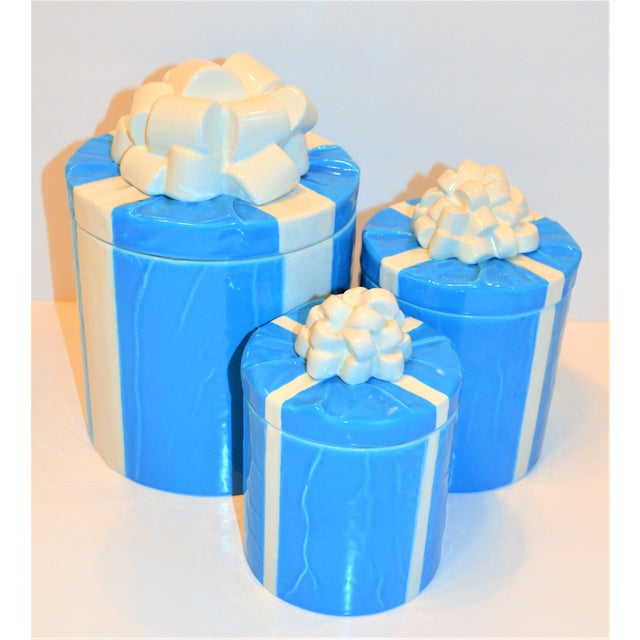 1970s Italian Trompe l'Oeil Mancioli Canister Set of 3 For Sale In Houston - Image 6 of 13
