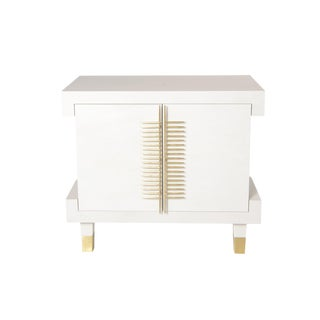 Simon Nightstand With Doors (Warm White) For Sale