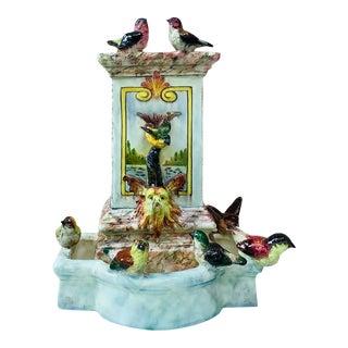 Majolica Fountain With Birds Delphin Massier Circa 1880 For Sale