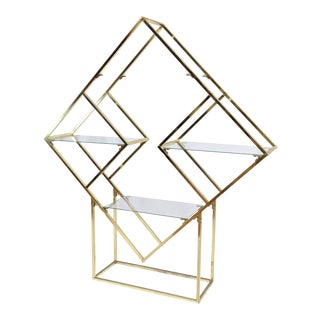 Milo Baughman Style Brass & Glass Diamond Etagere For Sale