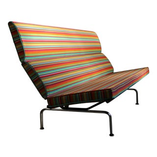 Charles and Ray Eames Compact Sofa in Alexander Girard Miller Stripe Fabric For Sale