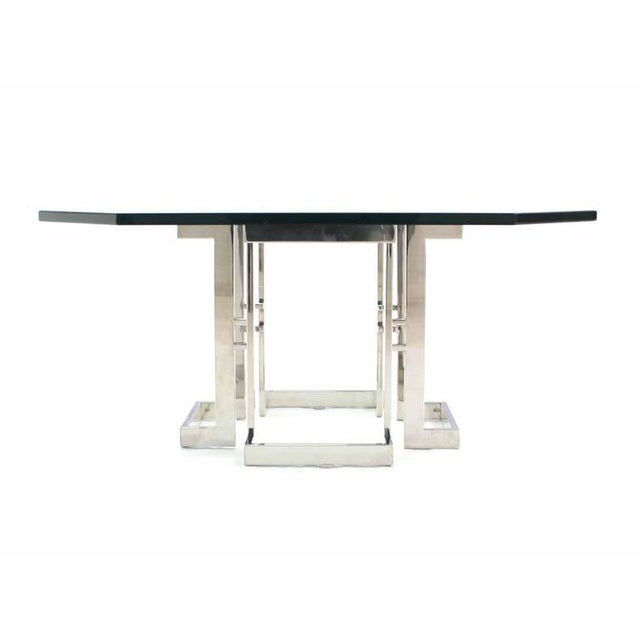 Early 20th Century Square Chrome Base Glass Top Coffee Table For Sale - Image 5 of 6
