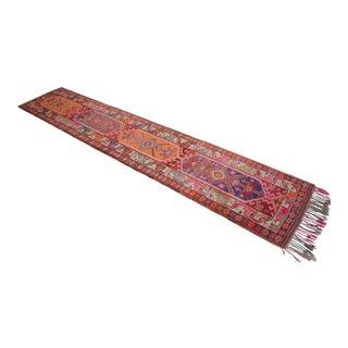 Heterodox Kurdish Runner Herki Rug. Hand-Knotted Colorful Tribal Long Runner - 3′1″× 15′6″ For Sale