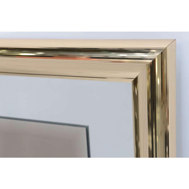 1970s Modern Faceted Brass Mirror With Center Bronze Mirror. - Image 5 of 8
