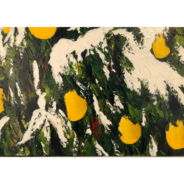 Canvas Meyer Lemons in the Snow Acrylic on Stretched Canvas Signed by Artist Framed Green Yellow White For Sale - Image 7 of 11