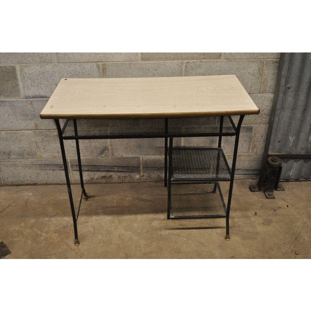 Mid-Century Modern Vintage Mid-Century Modern Wrought Iron & Metal Mesh Small Writing Desk Work Table For Sale - Image 3 of 12