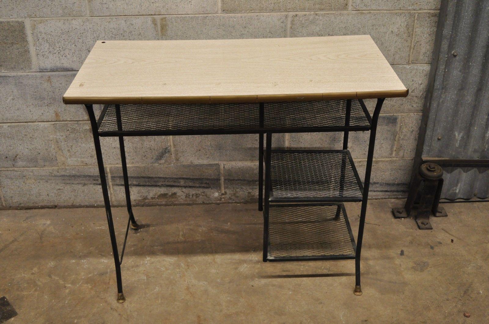 Industrial Vintage Mid Century Modern Wrought Iron U0026 Metal Mesh Small  Writing Desk Work Table