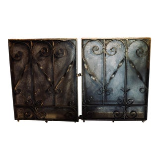 Antique Black Iron Fireplace Screens-A Pair For Sale