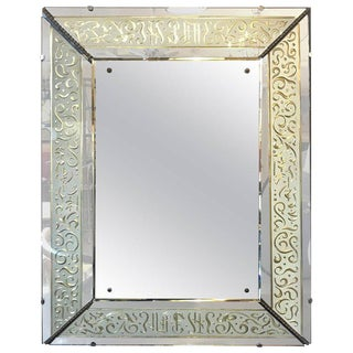 Hollywood Regency Etched Frosted Glass Framed Bevelled Wall or Console Mirror For Sale