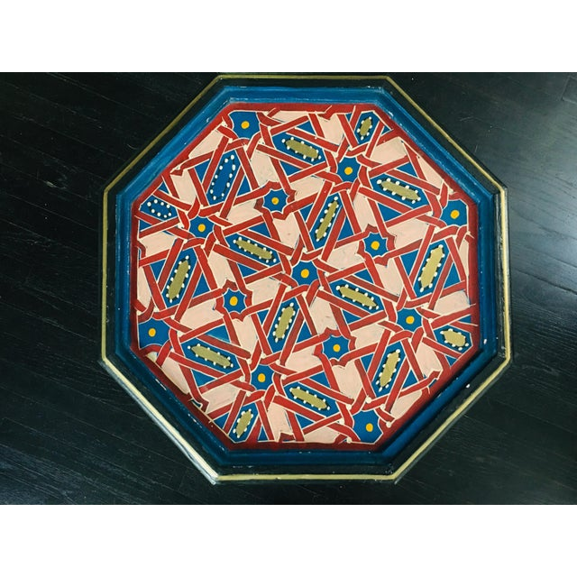Moroccan Hexagonal Hand Painted Wooden Side Table For Sale - Image 4 of 8