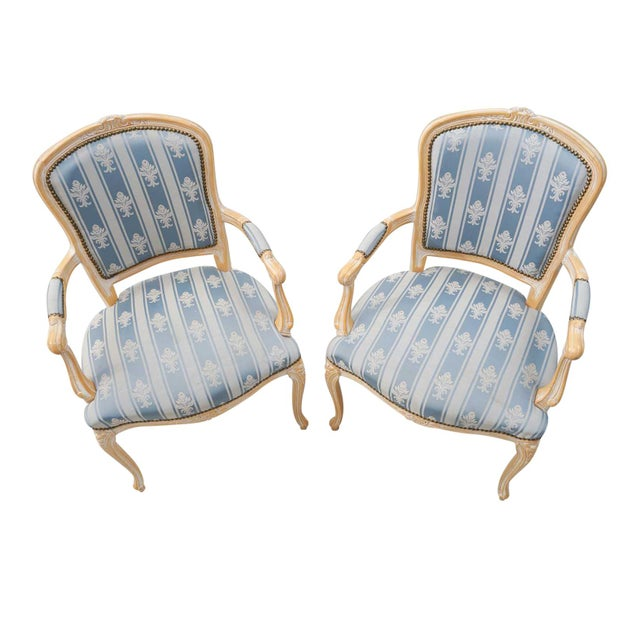 Rococo 1950s Vintage Rococo Armchairs- A Pair For Sale - Image 3 of 4
