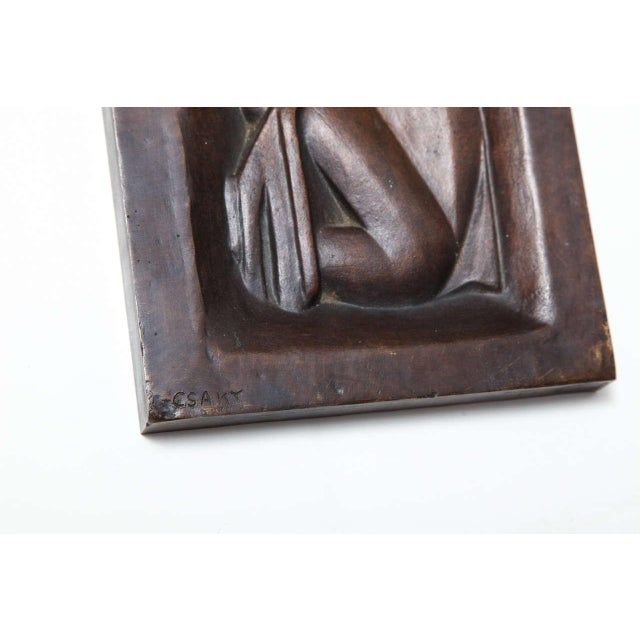 """1930s """"Femme se peignant"""" Bronze-Relief by Joseph Csaky For Sale - Image 5 of 6"""